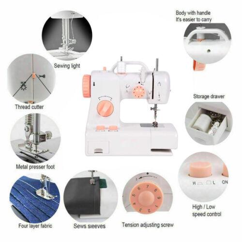 12 Stich Elektrische Mini Nähmaschine Doppelgewinde Handnähen mit LED Fußpedal