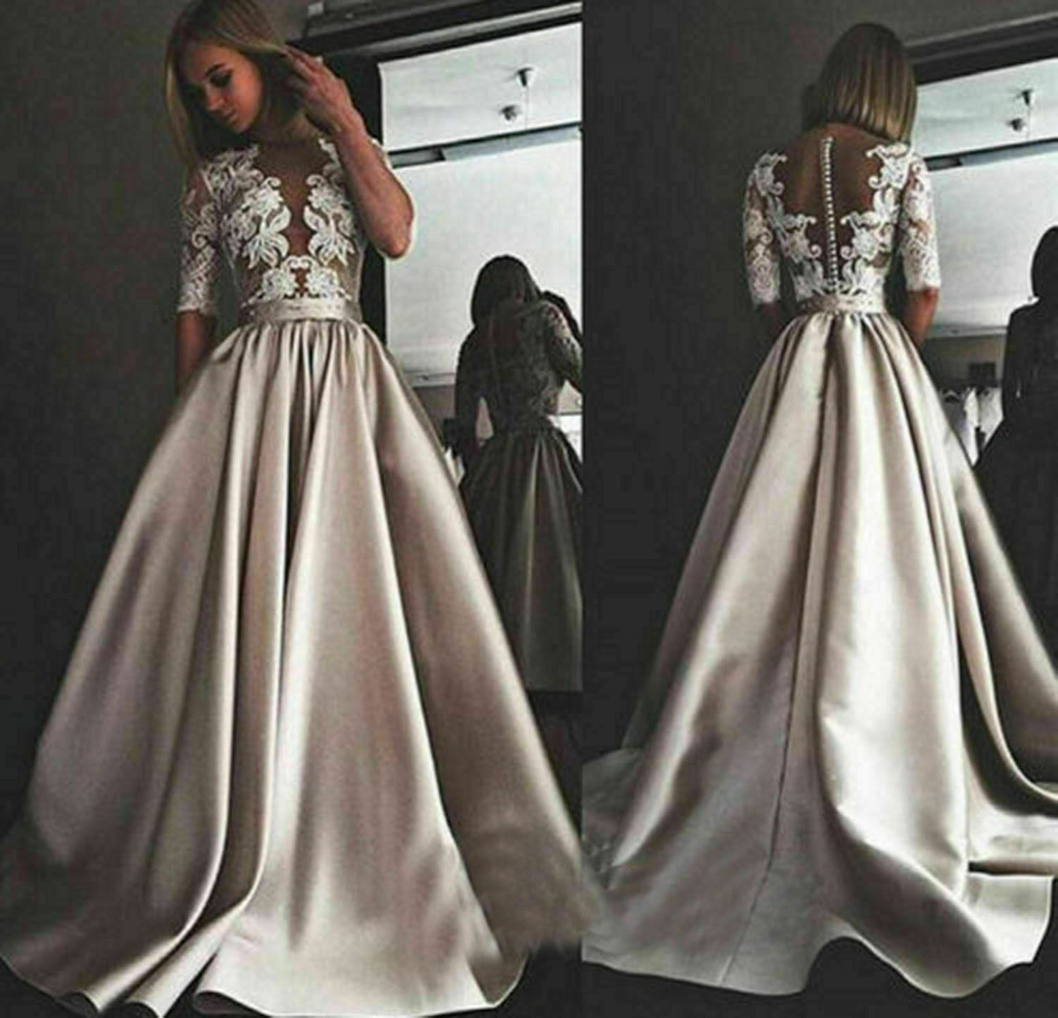Champagne Wedding Dresses Lace Top Bridal Gowns Satin A-Line Half Sleeves Custom