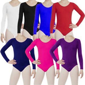 73e2d7a0558b New Girls Kids Uniform Long Sleeves Leotards Dance Gymnastics School ...