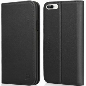 iPhone-7-8-Plus-Black-Leather-Zover-Flip-Folio-Case-With-Card-Holder-amp-Kickstand