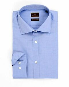 dac332d18831 Alfa Perry Extra Slim Fit Solid End-on-end Blue Spread Collar Cotton ...