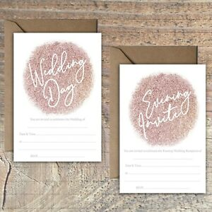 WEDDING-INVITATIONS-BLANK-ROSE-GOLD-GLITTER-PRINT-EFFECT-PACKS-OF-10