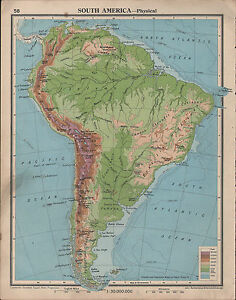 1939 MAP  SOUTH AMERICA  BRAZILIAN HIGHLANDS THE ANDES BOLIVIAN