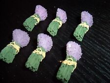 FLORAL PUSH PUNS  SET OF SIX (6)  PURPLE FLORAL BUNCHES  RESIN