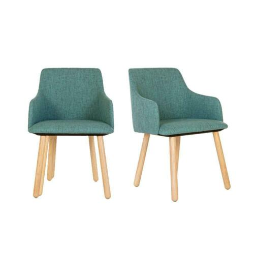 Set of 2 Linnet Dining Chairs with wooden legs & upholstered seat & backrest