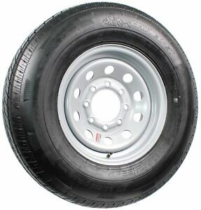 "Radial Trailer Tire On Rim ST235/80R16 LRE 16"" 8 Lug Modular Silver Wheel"