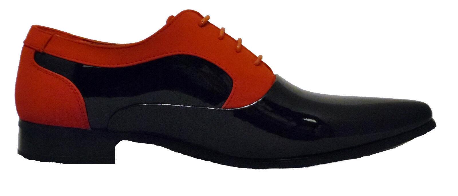 Herren Neue Schwarz und Rot Armando Leder Einlage Patent