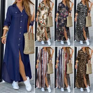 Details about UK Womens Holiday Beach Long Sleeve Button Down Denim Maxi Shirt Dress Plus Size