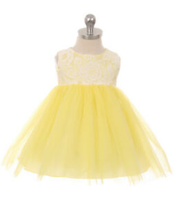 Details About New Baby Girls Yellow Lace Tulle Dress Wedding Birthday Easter Party Pageant 414