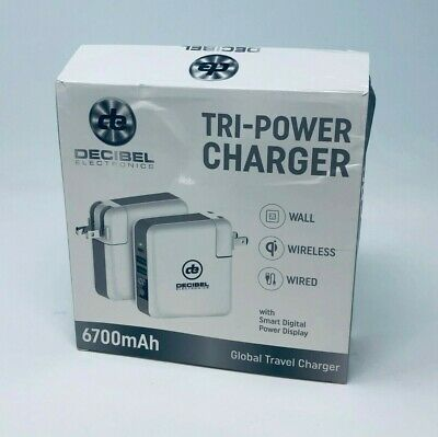 Powerbank Decibel Tri-Power Charger Wall Wireless Wired Wall Outlet Qi Charger