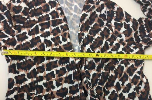 con 65 a Abito stampa Rrp portafoglio £ maniche avvolgimento 6 leopardata con Midi Uk Imbottito taglia con Midi E146 qwTS0Hq