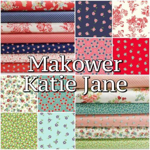 Makower Katie Jane Shabby Chic Cottage Floral 100/% Coton Patchwork Craft Tissu