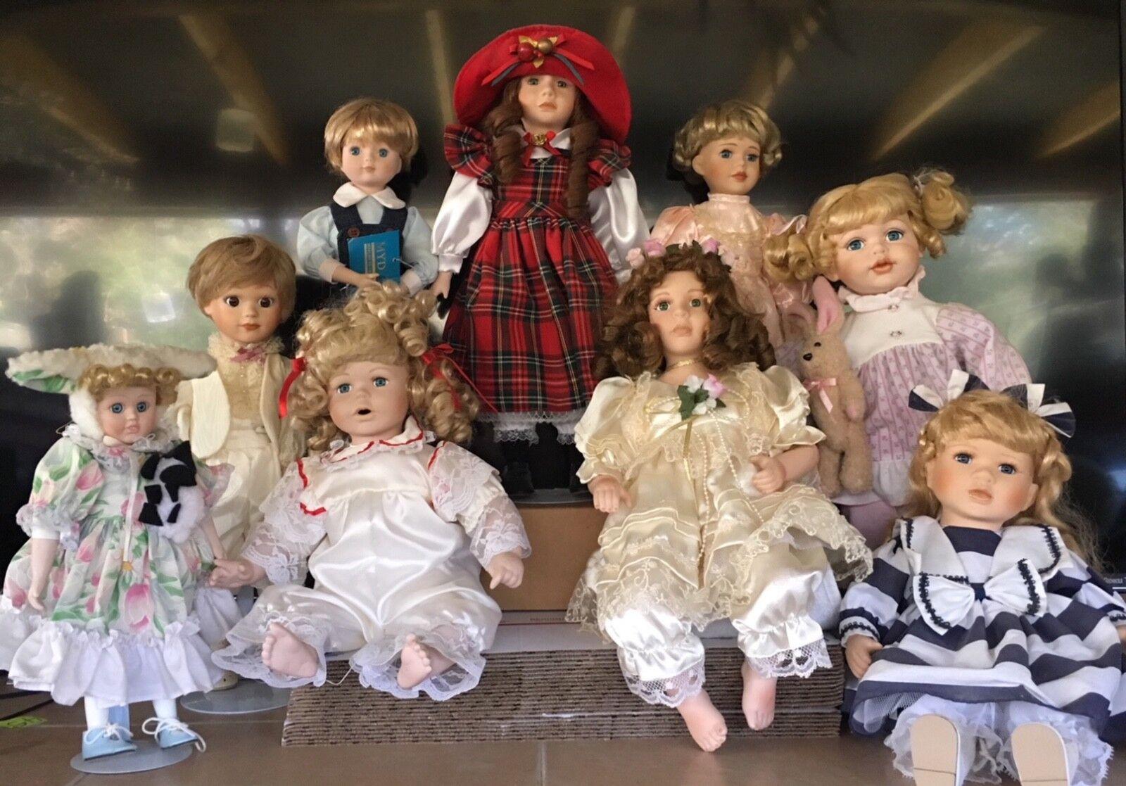 Lote de 9 muñecas de porcelana mezcla total Marian Yu Niño Niña Varios Tamaños Soporte Etiqueta agradable