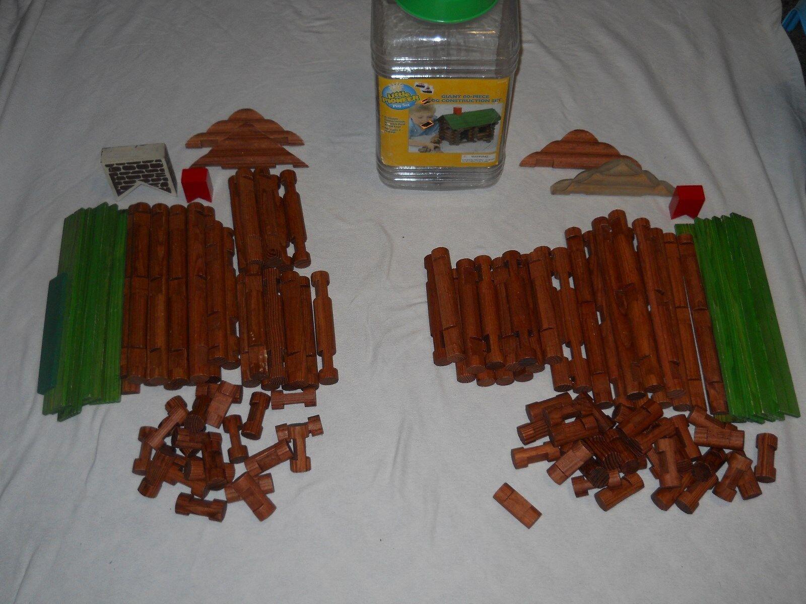 4Kidz Little Pioneer 2 Play Sets Giant 60 Piece Log Contstruction Set 123 Pcs