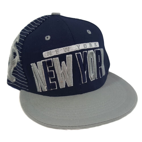 BLUE//GREY COTTON SNAPBACK NEW YORK 3D EMBROIDERED FLAT BILL TWO TONE