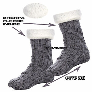 Mens-Bed-Socks-Lounge-Thick-Knitted-Knit-Fleece-Lined-Winter-Size-6-11