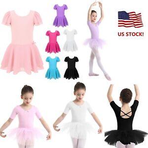 Toddler Girl Gymnastics Bowknots Ballet Dancer Leotard Tutu Skate Dress Costumes