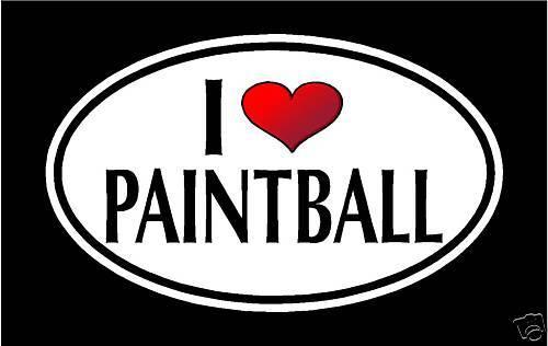 "5.75/"" I LOVE PAINTBALL vinyl decal sticker. PAINT BALL"