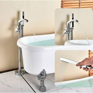 British-Plancher-monte-sur-pied-Chrome-bain-douche-mitigeur-Robinet-de-baignoire