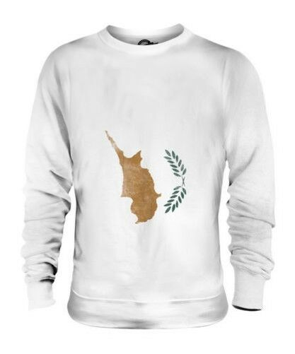 CYPRUS FADED FLAG UNISEX SWEATER TOP KYPROS FOOTBALL CYPRIOT GIFT SHIRT