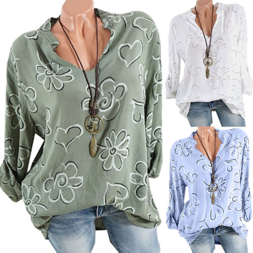 Womens Blouse Tee Shirt Long Sleeve T-shirts Casual V Neck Tops Plus Size 8-22