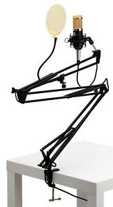 STUDIO-MICROPHONE-CONDENSER-MIC-PODCAST-GOLD-POP-FILTER-TABLE-BOOM-STAND-SET-BK