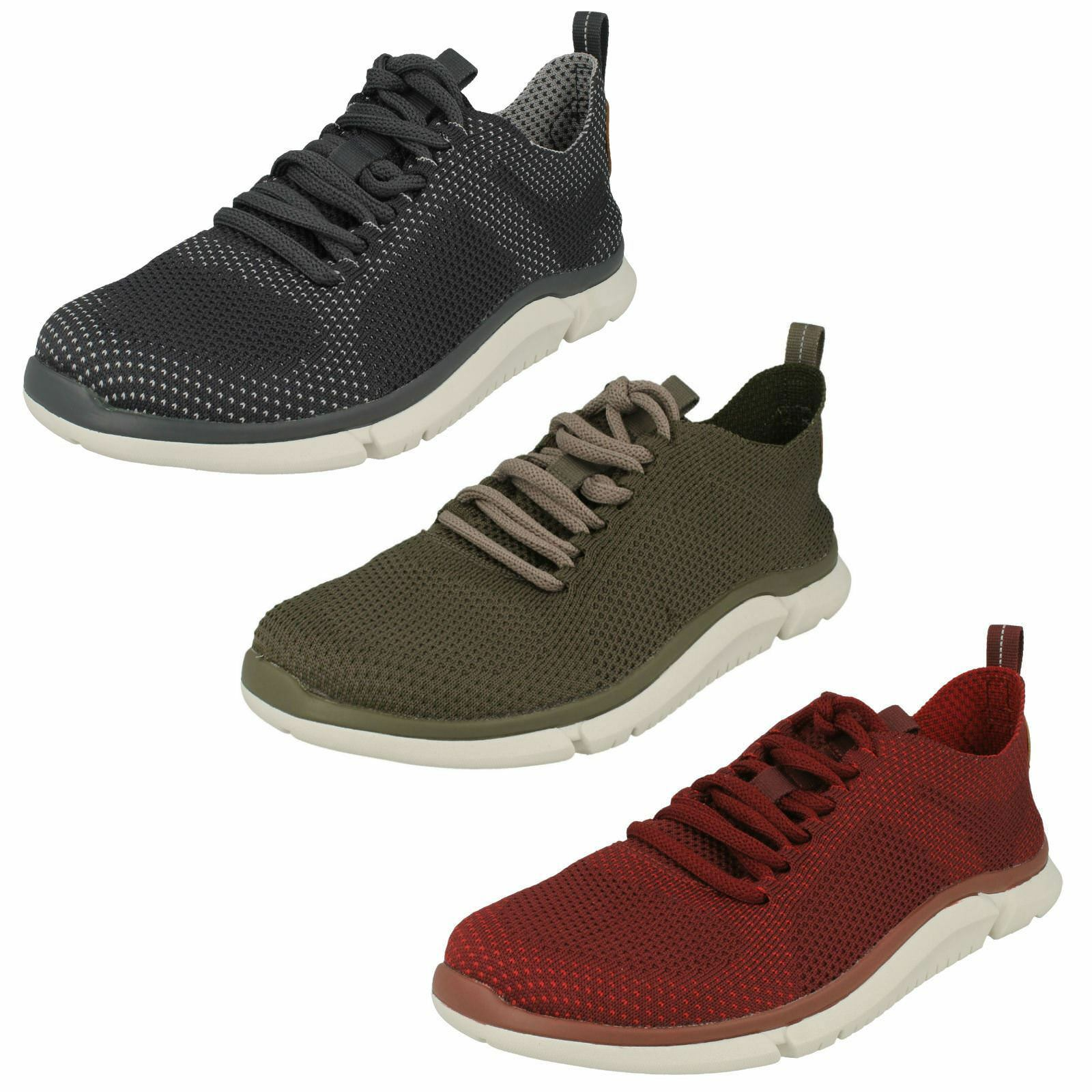 Uomo Clarks STylish Lace-Up Trainers Triken Run