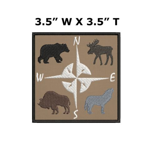 Compass with Bear Wolf Buffalo Moose Embroidered Patch Iron-On Sew-On Applique