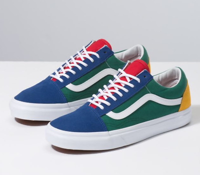 green red yellow and blue vans