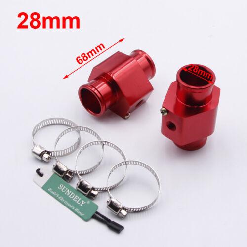 2x Water Temp Temperature Gauge Radiator Hose Sensor Adaptor Pipe Red 28mm