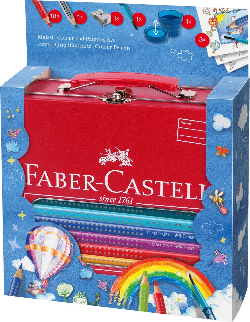JUMBO GRIP Buntstifte, Bleistift, Pinsel & Becher Faber-Castell Malset Koffer | Neuartiges Design  | Modern Und Elegant  | Elegant Und Würdevoll