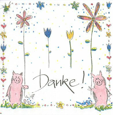 2 serviettes en papier Animal Cochon Fleurs Decoupage Paper Napkins Pig Flowers