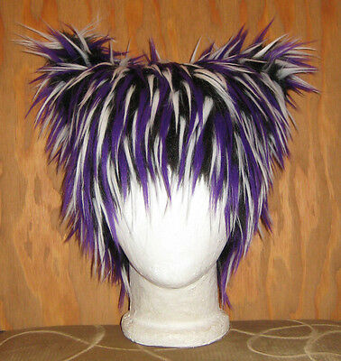 ANIME CAT HAT FUR CHESHIRE ELECTRO FESTIVAL WIG BURNER KITTY PURPLE NEW COSPLAY q0CCH