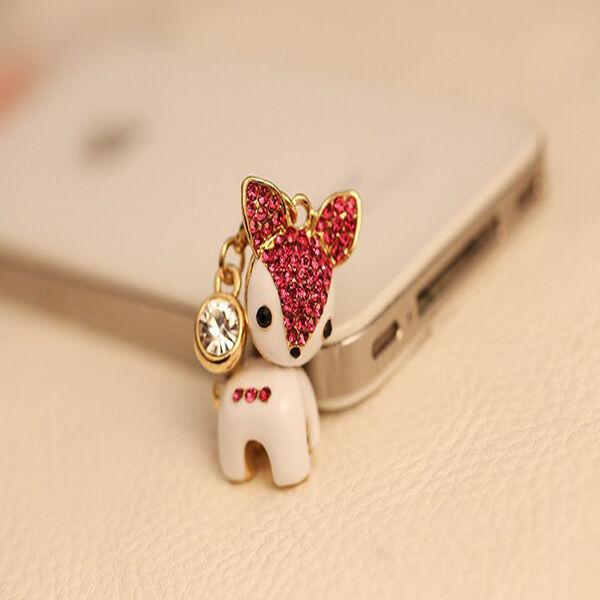 Anti Staub Schutz Stöpsel Kappe 3,5 iphone samsung Buchse Strass süßes Reh Pink