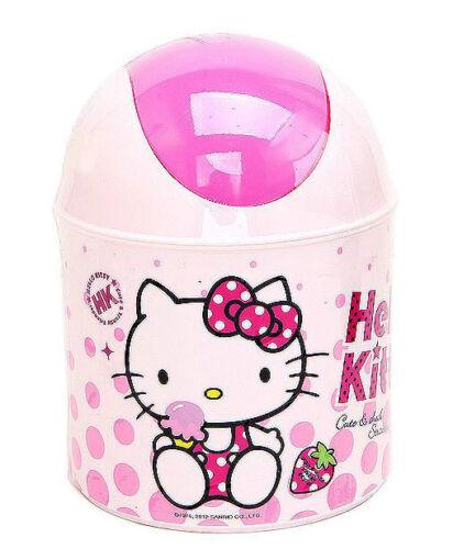 Hello Kitty Mini Push Trash Can Waste Basket Red Interior Kids Living Bath Room