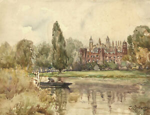 C-R-Young-Signed-Early-20th-Century-Watercolour-Country-Manor
