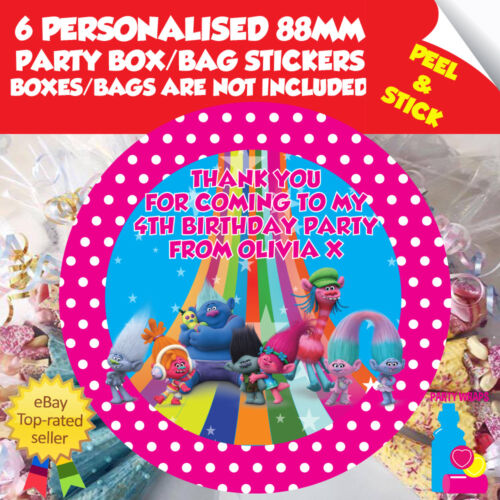 6 Personalised Trolls Party Box or Bag Self Adhesive Stickers Blue or Pink
