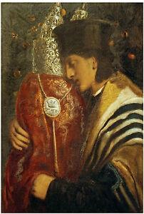 Vintage RABBI Scrolls TORAH Tallis JEWISH Judaica *CANVAS* Antique Art ~ LARGE