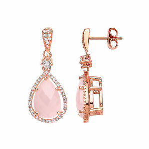 Image Is Loading Rose Quartz Earrings Sterling Silver Drop Natural