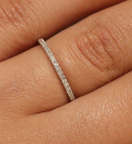 10K solide or blanc 0.15 ct diamant naturel Bague de fiançailles empilable