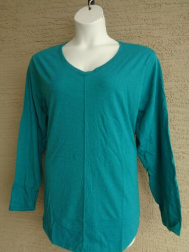 New Just My Size 4X Cotton Blend Center Seam L//S V Neck Tee Top  Emerald