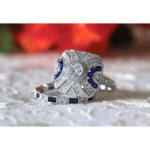 Women-925-Silver-White-Topaz-Wedding-Engagement-Jewelry-Gift-Set-Ring-Size6-10