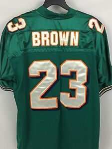 Men's RONNIE BROWN Miami Dolphins Teal STITCHED Jersey Authentic