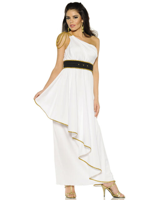 athena womens greek roman god goddess white toga halloween costume