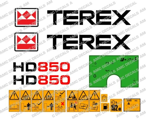 TEREX HD850 DUMPER DECALS STICKERS WARNING STICKERS AND GREEN DASH STICKER