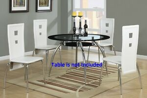 Image Is Loading Modern Dining Chairs High Back White Faux Leather