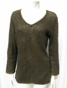 CLASSIQUES-ENTIER-HAIRY-KID-MOHAIR-EXTRA-FINE-MERINO-WOOL-V-NECK-SWEATER-size-M