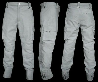 Men's White Leather Cargo Pockets Pant Trouser New All Sizes