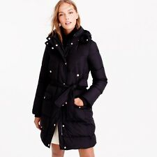 J.CREW $298 DOWN BELTED WINTRESS PUFFER COAT Size XL BLACK