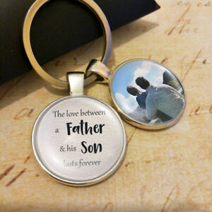 Details about Personalised Father Son Photo Keyring Fathers Day Gifts  Birthday Present Daddy